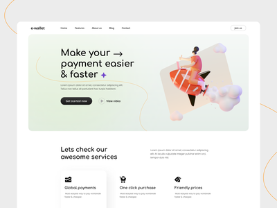 E-wallet landing page. moneytransfer e-wallet uxdesign illustration design typography uiux ux ui landingpage webdesign web