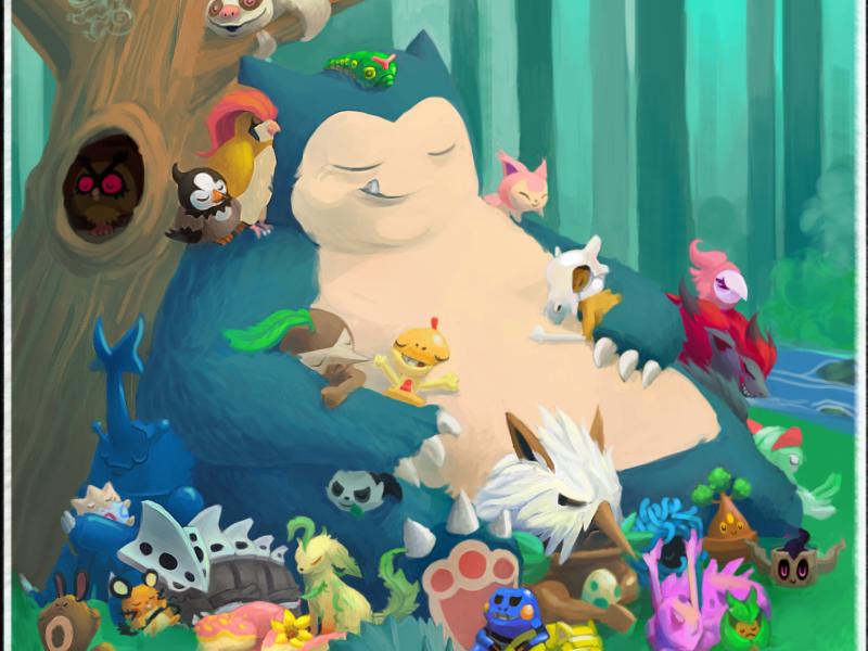 143 Snorlax - Pokemon One a Day snorlax pokemon scene storybook illustration cartoon nintendo