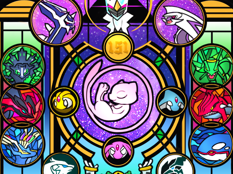 151 Mew - Pokemon One a Day mew mural stained glass window illustration panel nintendo