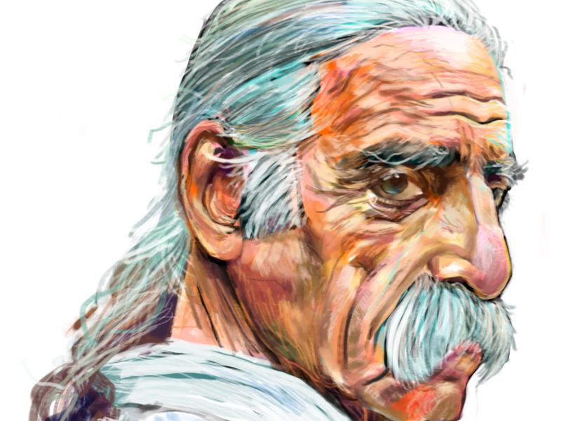 """Old Snake/Bahram"" portrait painting humans of new york"