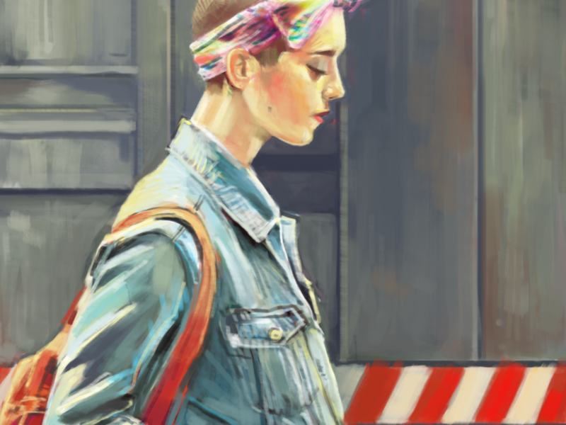 """""""Reflect"""" portrait painting humans of new york woman subway"""