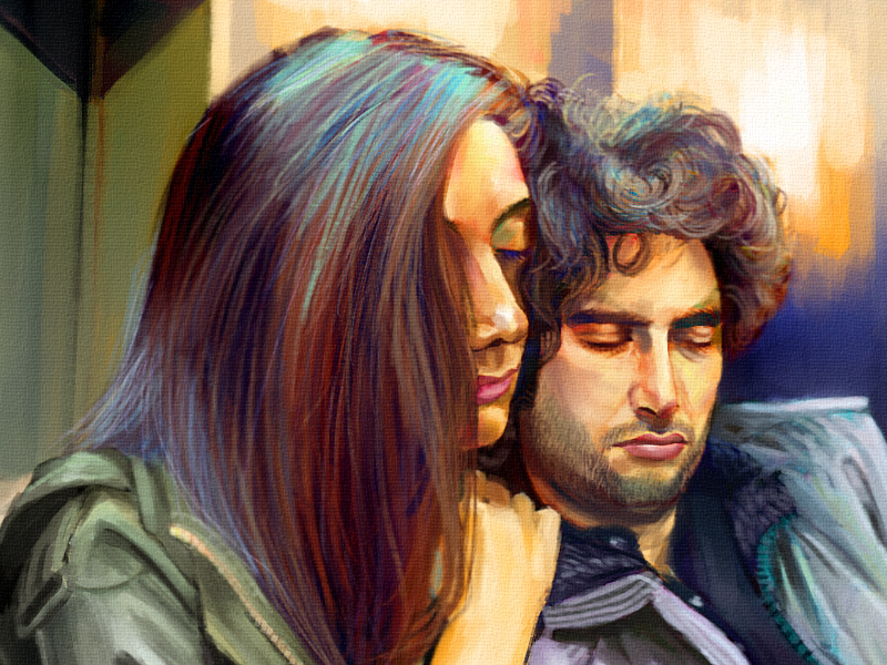 """""""Dreams"""" humans of new york painting portrait couple subway"""