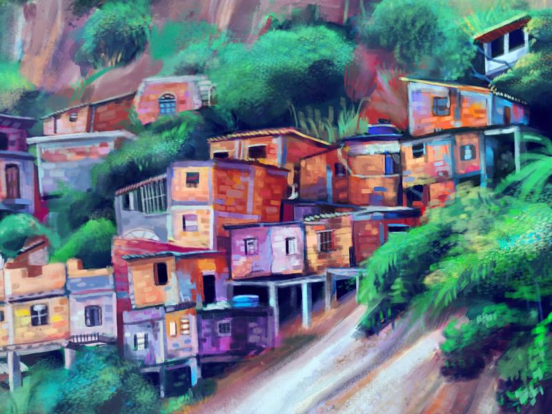 Favela - Environment Study illustration painting digital favela colors architecture environment nature