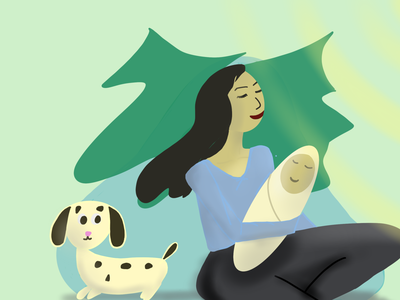 Ilustration in the nature, Mama &baby& puppy animals baby mama illustration