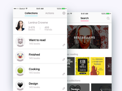 Leafy App profile collections books interface design ui ios ux