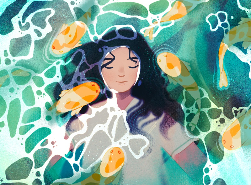 feeling like a fish out of water simple character illustration animals procreate sketch explore floating water fish