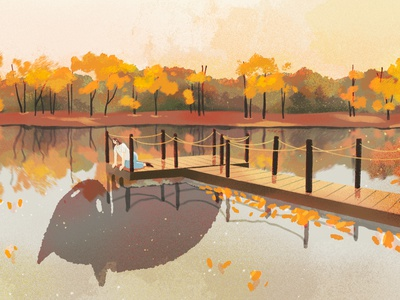 ... and i don't know who i am anymore identity self fall autumn scene character wip sketch procreate illustration