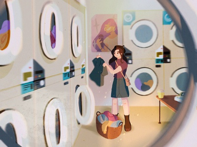 when times were simpler (part 1/2) girl progress design character color laundry clothes procreate style sketch wip illustration