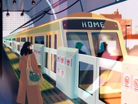 lets go home procreate simple waiting frog girl character digital art concept art afternoon lights city station train home illustration