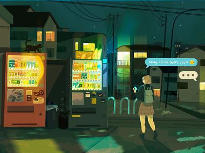okay, i'll be there soon drinks vending machine mobile text progress sketch character japan buildings city anime concept art digital art illustration procreate