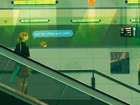 better days will come personal emotion mood umbrella japan alone exploration journey digital art concept art city sketch illustration travel anime girl transport train