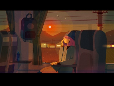 feel the warmth landscape sun girl glow lights illustration simple home journey train digital art concept art city character afternoon