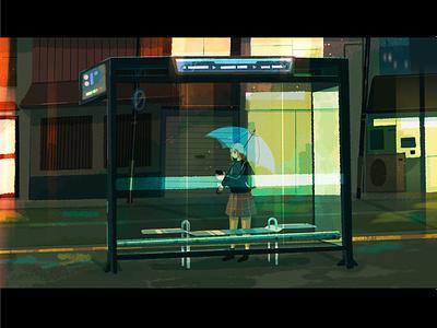 rainy nights procreate landscape umbrella lights city digital art concept art simple character home phone waiting anime illustration transport bus