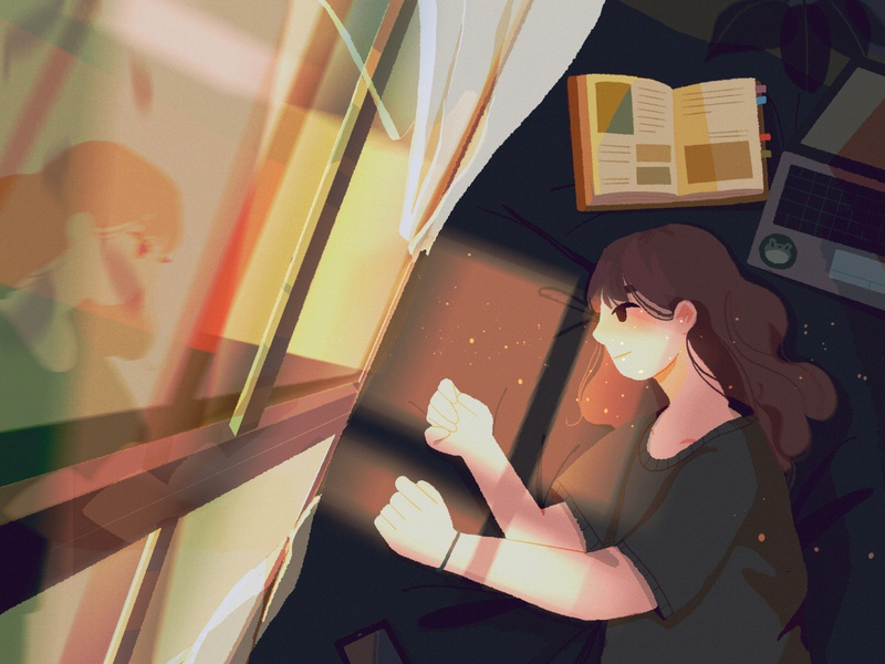 pause glow reflection pause rest windows phone laptop home anime digital art concept art girl lights window sketch character illustration