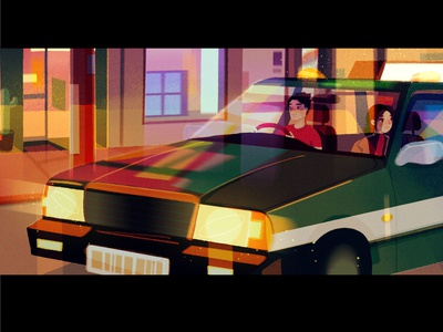 time to go! digitalart concept art anime road buildings lights glow flow journey city car transport taxi home procreate inspiration simple sketch character illustration