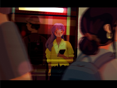 it's a window vibe blur night bag home flow phone frog people city glow reflection bus window procreate simple wip sketch character illustration