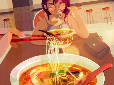 good food and good friends warm delicious moment bag restaurant lights glow home memories girl noodles food procreate simple sketch character illustration