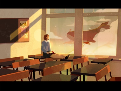 forever dreaming lunch food sandwich frog glow afternoon desk animal procreate inspiration sketch illusion imagination flying whale school home moment dreaming illustration