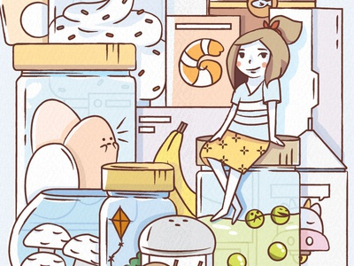 Food is your friend WIP kitchen inspiration egg banana delicious icons wip progress vector character food illustration