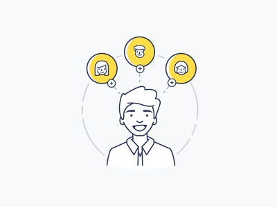Onboarding / Presumi 2.0 people simple rewards avatar onboarding profile character vector icons illustration friends refer