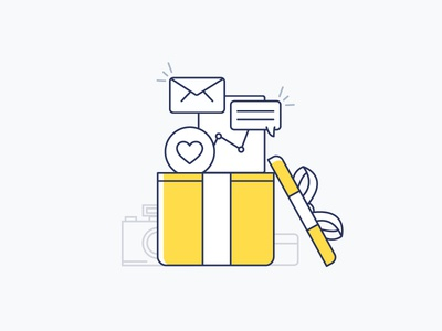 Onboarding / Presumi 2.0 account upgrade icons camera love analytics party celebration profile onboarding vector illustration
