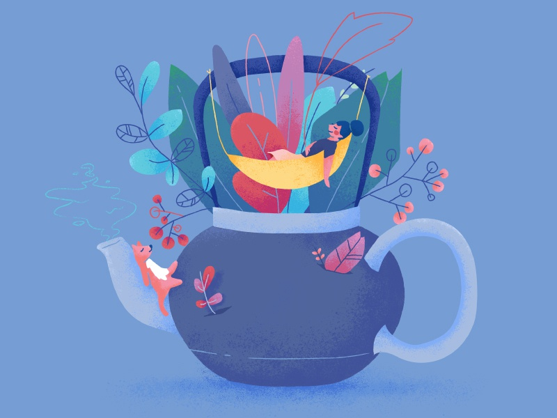 Drink well, have well • Tea 🍵 cat wip series relax floral icons character texture vector drinks tea illustration