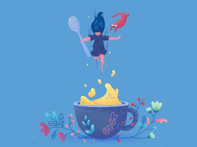 Drink well, have well • Coffee ☕️ wip energy floral spoon cat jumping coffee drinks texture vector icons illustration