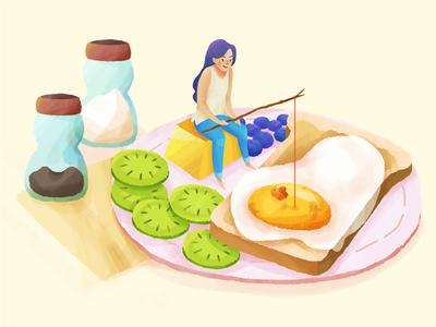 Egg • Food life process lifestyle character animals fishing wip style photoshop illustration breakfast food egg