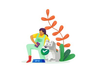 Approve work • Cactus lifestyle food people animal dog texture vector character icon workflow onboarding illustration