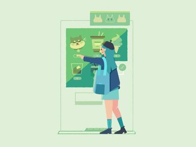Vending machine lovin' • Japan 2018 vending machine girl cute japanese food shiba animals lighting illustrator color progress icons wip japan design simple inspiration character vector illustration