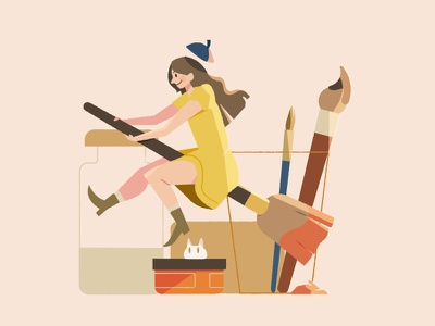 Pigment • Japan 2018 illustration icons character vector wip style clean inspiration progress sketch drawing illustrator girl art painting brush witch warm lighting icon