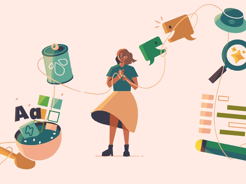 are YOU the next design system champion? 👀 illustration icons vector character wip style simple onboarding inspiration clean progress illustrator sketch drawing design system experiment blog