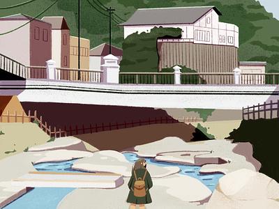 arima onsen, spa town in kobe, japan exploration bridge water procreate sketch environment nature character city town onsen illustration japan