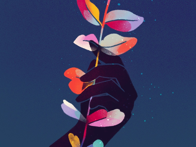hold on tight • part 1/4 rainbow color texture delicate series grip sketch plant leaf inspiration procreate hand illustration