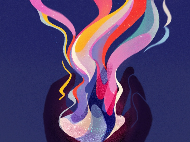 hold on tight • part 2/4 rainbow color fire hand procreate inspiration flow grip series delicate illustration texture