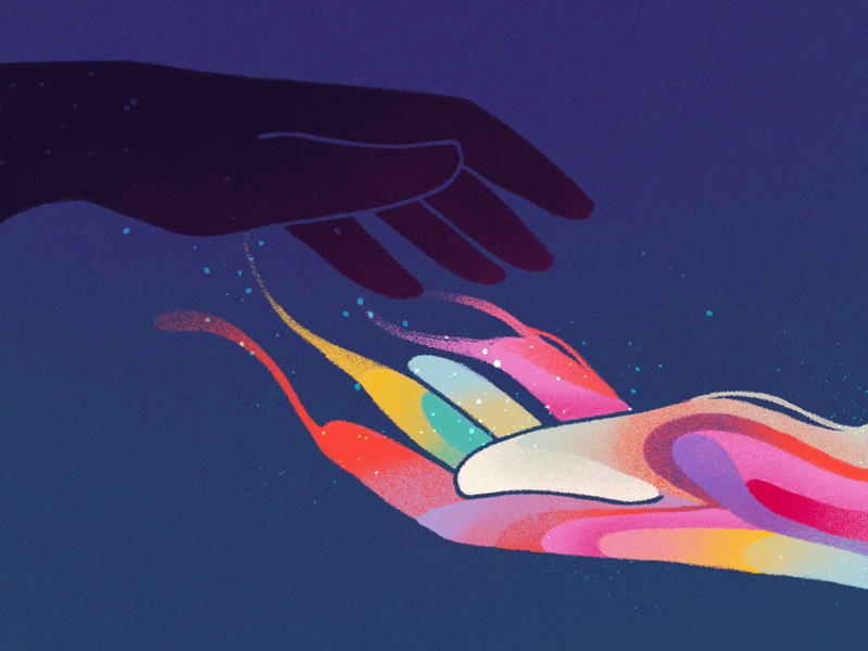 hold on tight • part 4/4 rainbow flow procreate series sketch hold hover grip color illustration hand texture delicate