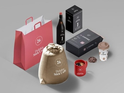 Coffee Presentation Pack retail shop rack paper pack mockup material linen latte label gold flavour eco design cup coffee cappacino cap cafe bean bag