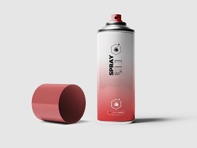 Spray Can Mock-upS spray presentation pantone painting paint mockup mock-up metal logo graffiti cup colorful color can box atomizer
