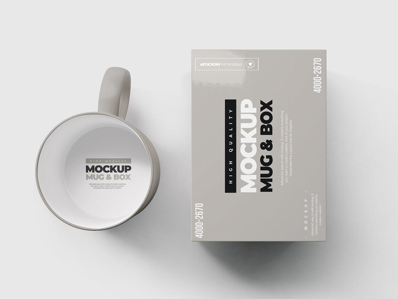 Mug & Box Mock-up realistic preview presentation portfolio mug mockup logo layered drink desk designer cup creatif colorful color coffee client clean branding box