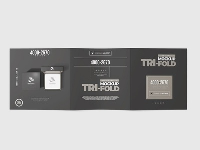 Tri-Fold Square Brochure Mock-up photorealistic photo-realistic pamphlet mockup mock up horizotanl handbill folder flyer flier elegant dl divided into three centerfold brochure mock-up booklet bill advertising folder advertisement advert