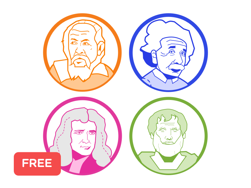 [Freebies] Scientists illustration illustration freebie free aristotle isaac newton albert einstein galileo galilei galileo einstein isaac