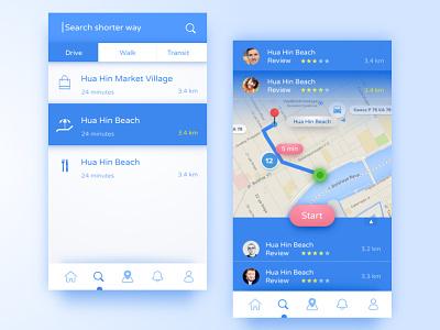 Shorter Way App bright ios mobile ui ux design dailyui clean app sketch shadow