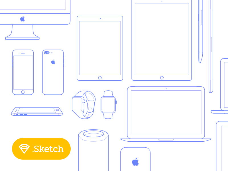 [Freebies] Apple Icons Set vector imac mac watch svg sketch iphone free freebies icon apple