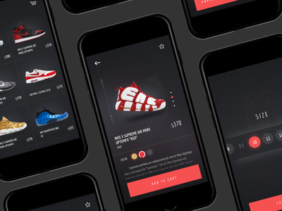 Nike X Supreme Shoes Shop UI design ui dailyui ux ios mobile sketch app list shoes dribbble