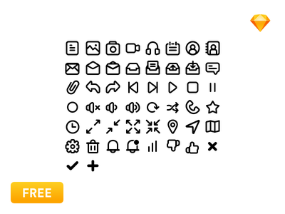 [Free] 40 Basic Icons Pack flat icons vector freebie interface free sketch svg set icon user