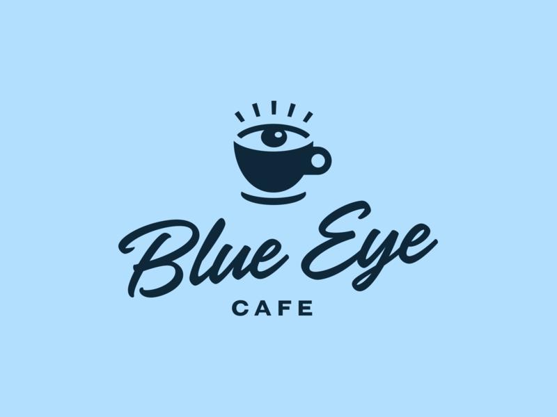 Blue Eye Cafe script blue eye cafe coffee logo