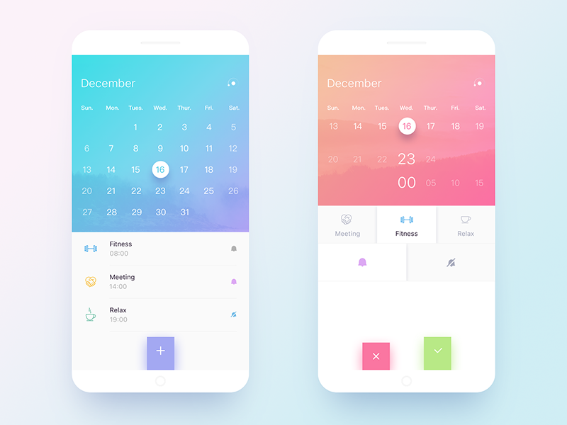 Calendar App Design : Calendar design by xer lee dribbble
