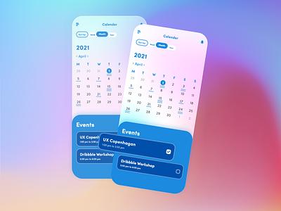 Calendar UI flat user experience userinterface gui gradient design minimal ux ui glassmorphism glass effect xd design xd adobe xd design adobe xd