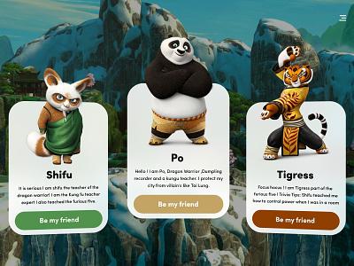 Kung Fu Panda Cards web ui web panda ui ux ui design ui illustration glassmorphism glass effect adobe xd xd design 3d adobe xd design abhranil banerjee