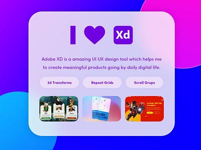I Love Adobe XD rounded rounded corner i love xd uiux blobs gradient ui ui design glassmorphism adobe xd xd glass effect adobe xd design abhranil banerjee
